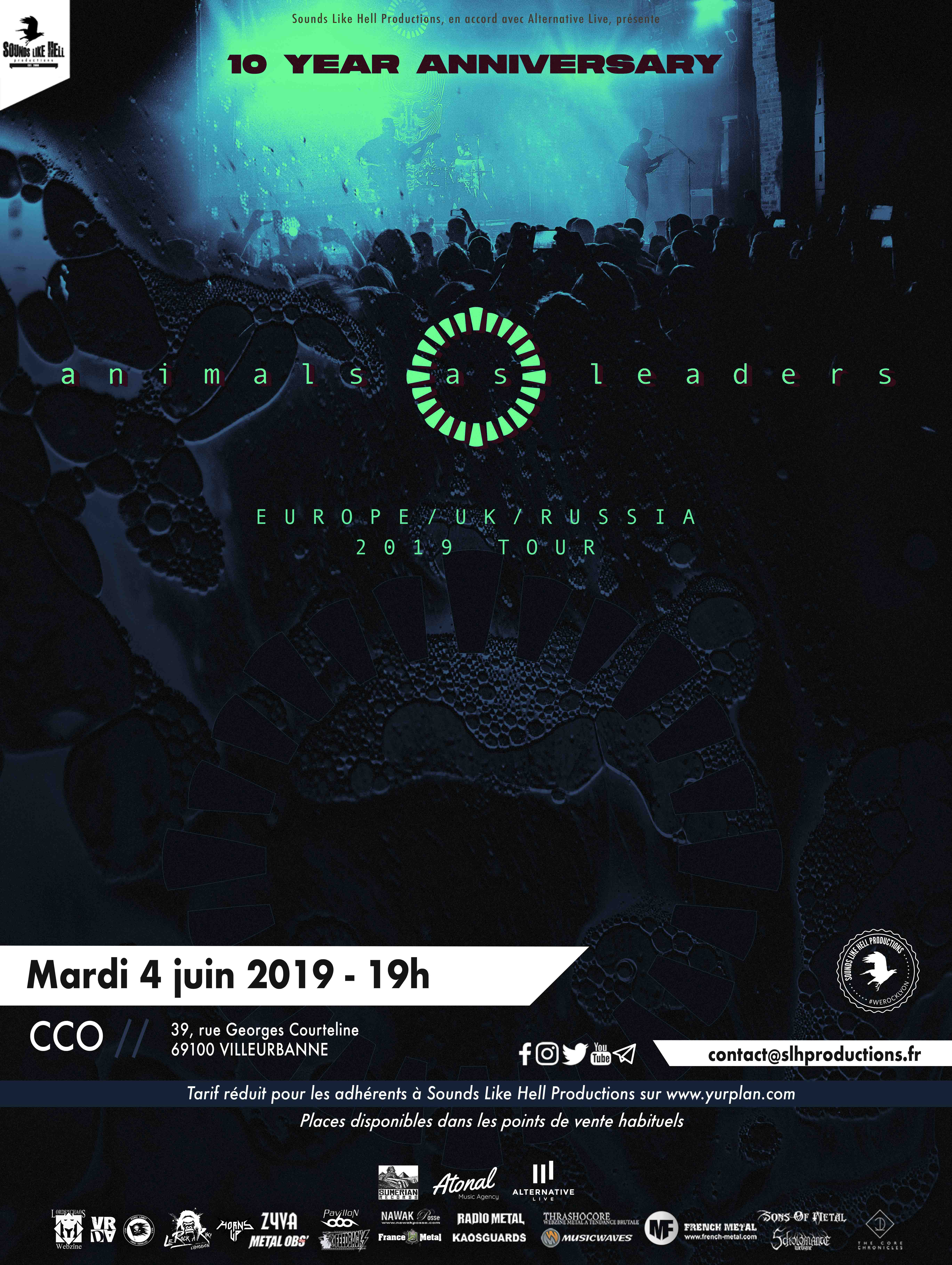 Animals As Leaders @ CCO Jean Pierre Lachaize (Lyon) - 05 juin 2019