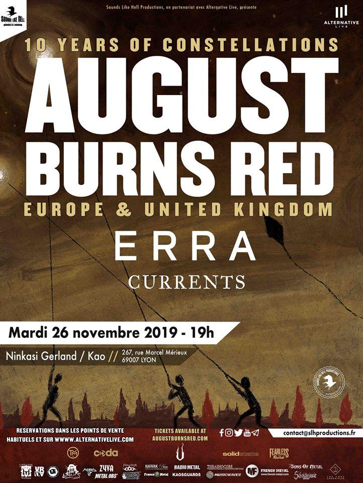 August Burns Red + ERRA @ Ninkasi Kao (Lyon) - 26 novembre 2019