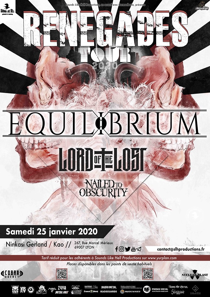 Equilibrium + Lord Of The Lost + Nailed to Obscurity @ Ninkasi Kao (Lyon) - 25 janvier 2020
